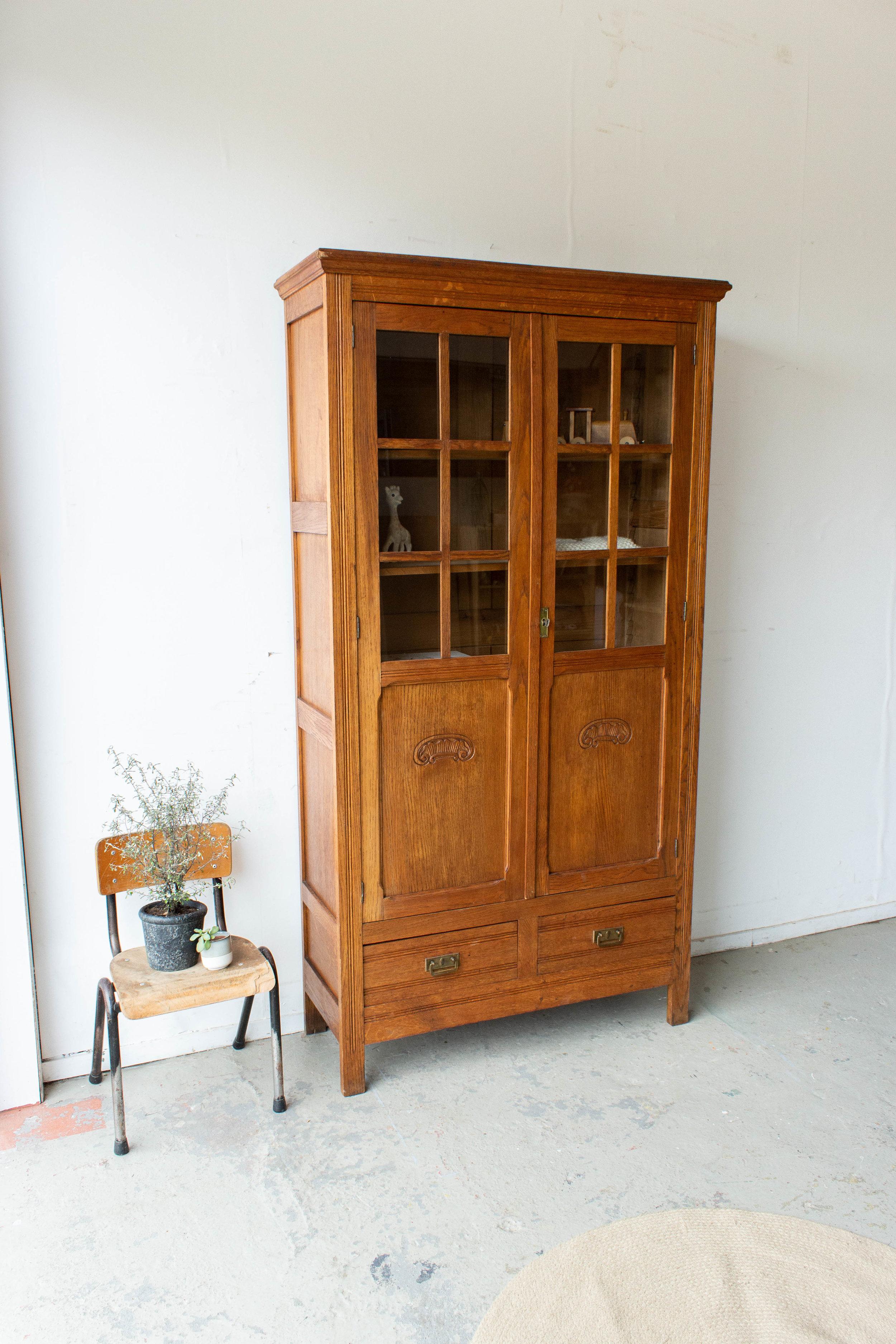 1536 - Houtkleurige vintage vitrinekast-4.jpg