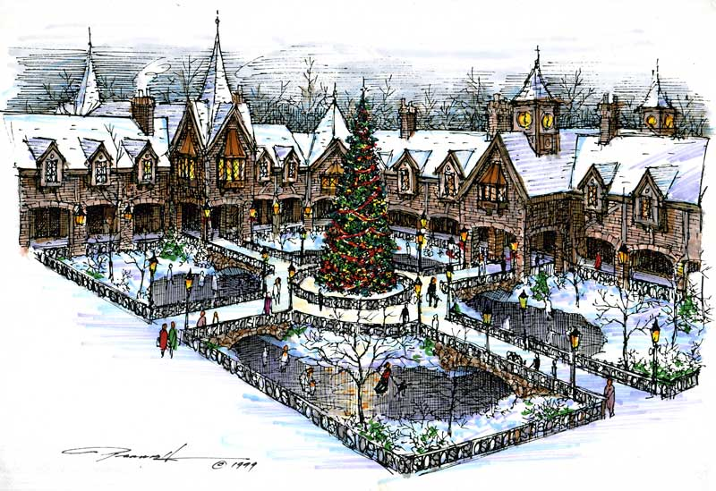 Looking down upon Brad's 1999 concept drawings for the Parrish Germantown office/retail business park. A self contained complex with fine restaurants, galleries and retail spaces all located on the lower lever and business offices all located on the upper level. In summer the center area becomes a large gazebo with summer entertainment such as music etc.