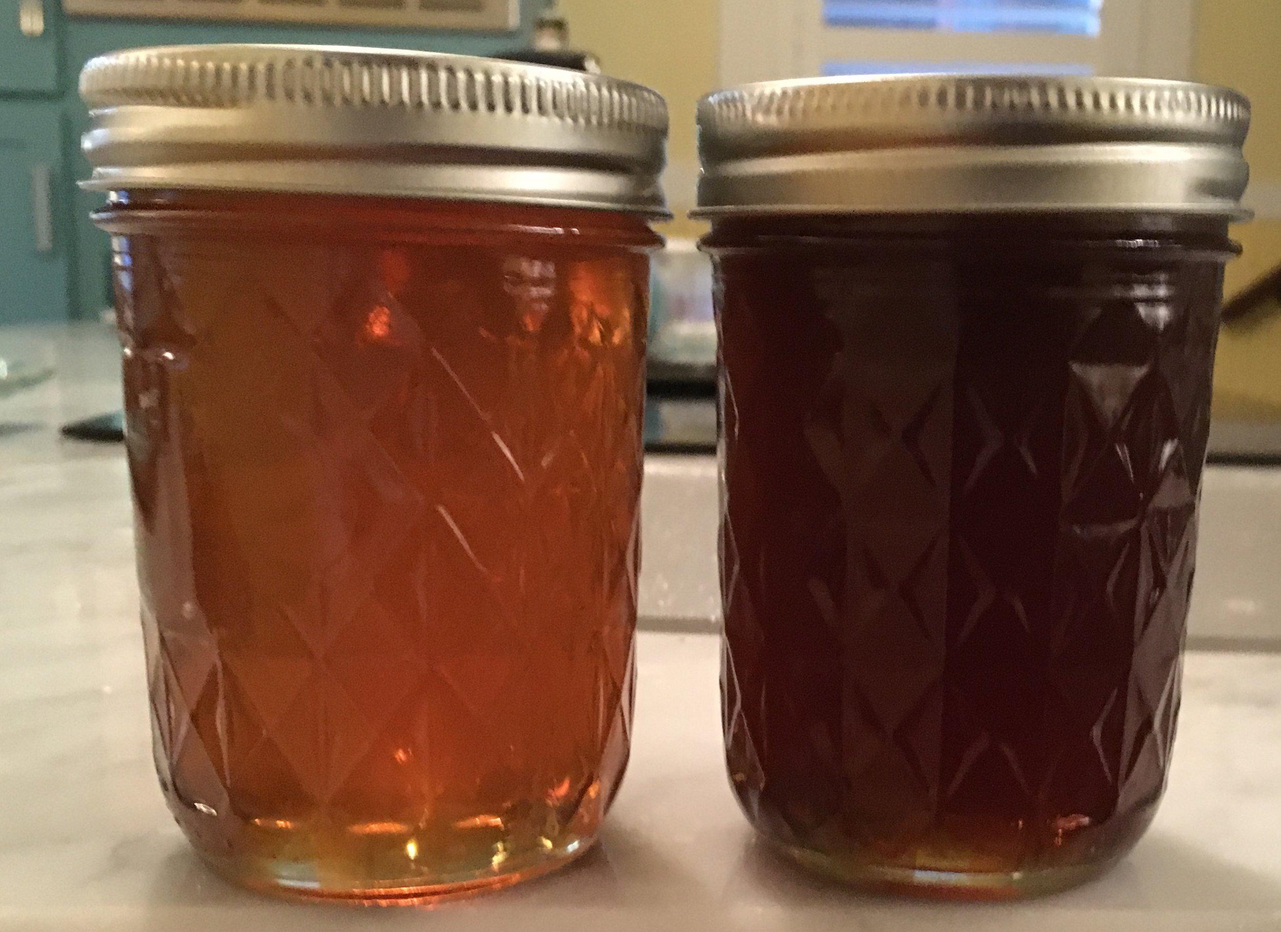 Left - late summer honey. Right - Boneset honey.