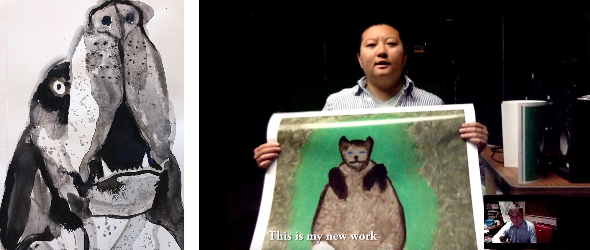 Kelly Neibert,  Howl 5 , 2018; Zhiyuan Yang, still from  Yang's Cat Family , 2017
