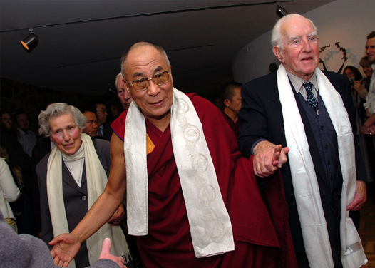 The visit of the Dalai Lama to Corrymeela in 2005. Here he is with Ray Davey and Kathleen Davey.