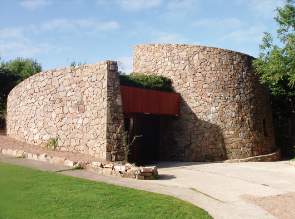 The Croí - the place of prayer, meeting and reflection at Corrymeela. The building is designed to resemble chambers of listening and has few sharp corners. Croí is the Irish word for 'heart'.