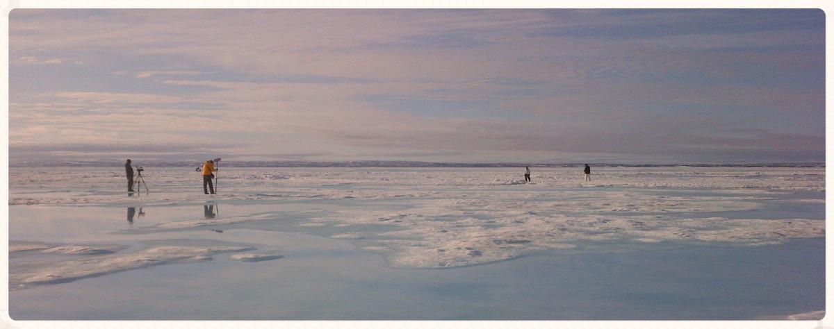 Film shoot on the sea ice north of Igloolik