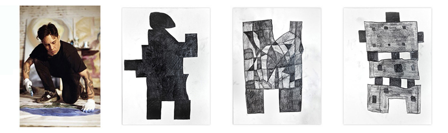 "Left to right:  Lance de los Reyes  at work, and  Builder 1 ,  Builder 6  and  Builder 7;  all works dated 2016 and graphite on paper; each sheet measures 24"" x 18"". Photo of the artist at work by Mordechai Rubinstein, courtesy of the artists; photos of artworks courtesy of  Shrine ."