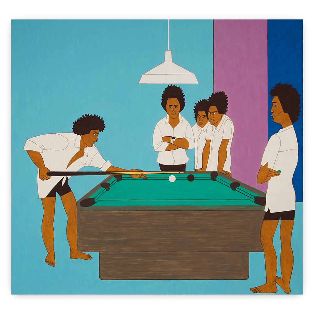 Yves Tessier - 5 Boys at a Pool Table