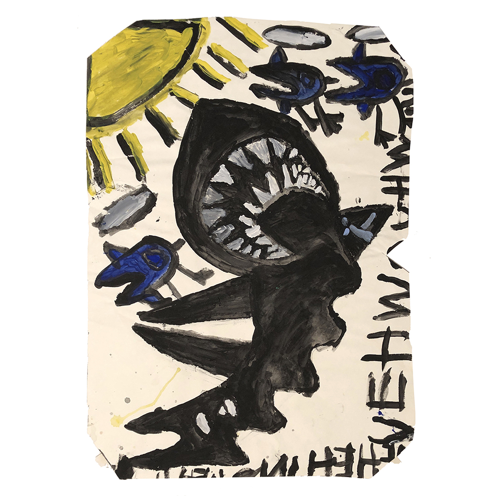 Laura Craig McNellis, Untitled (black shark with sun)