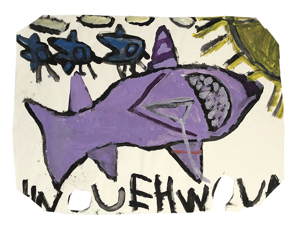 Laura Craig McNellis, Untitled (purple shark, birds, and sun)