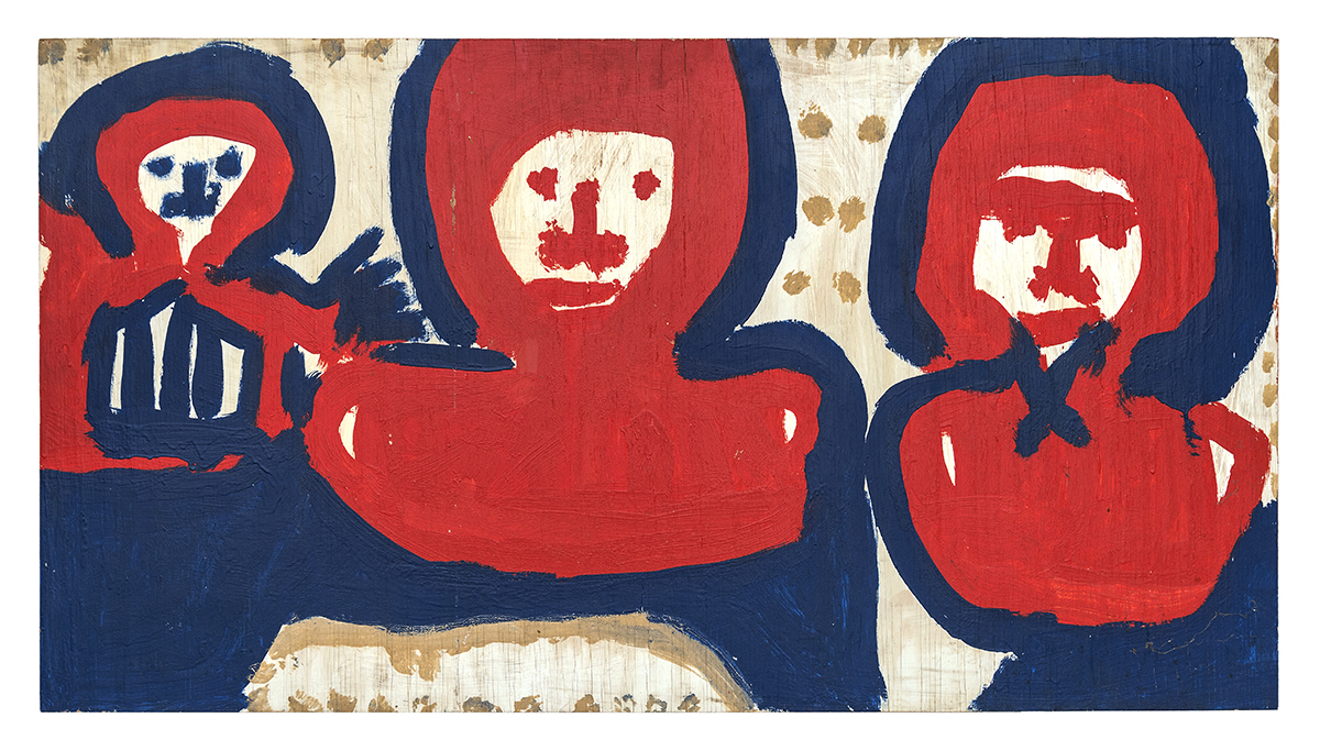 Mary T. Smith – Untitled (three red figures with blue on white)