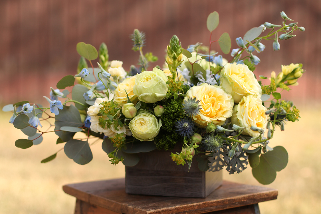 Centerpiece with bella donna delphinium, blue thistle, round leaf eucalyptus, dusty miller, green trachelium, bupleurum, Yellow Finesse roses, Lime Piano garden roses and yellow ornithogalum in a dark wood box, by Cincinnati wedding florist Floral Verde LLC.