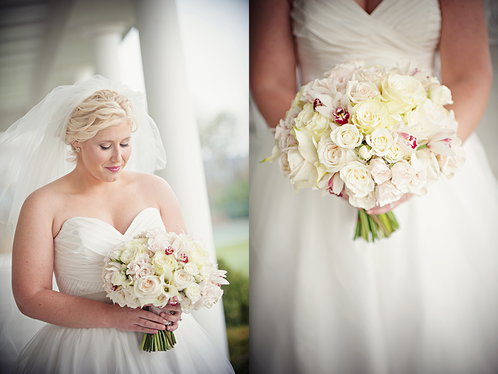 Bridal bouquet with white hydrangea, white mini callas, Snow Flake spray roses, white mini cymbidium orchids, Mondial roses, White O'Hara garden roses, Porcelina spray roses and White Majolica spray roses. Flowers by Cincinnati wedding florist Floral Verde LLC. Images by  Leah Robbins Photography .Dearborn Country Club, Aurora, IN.
