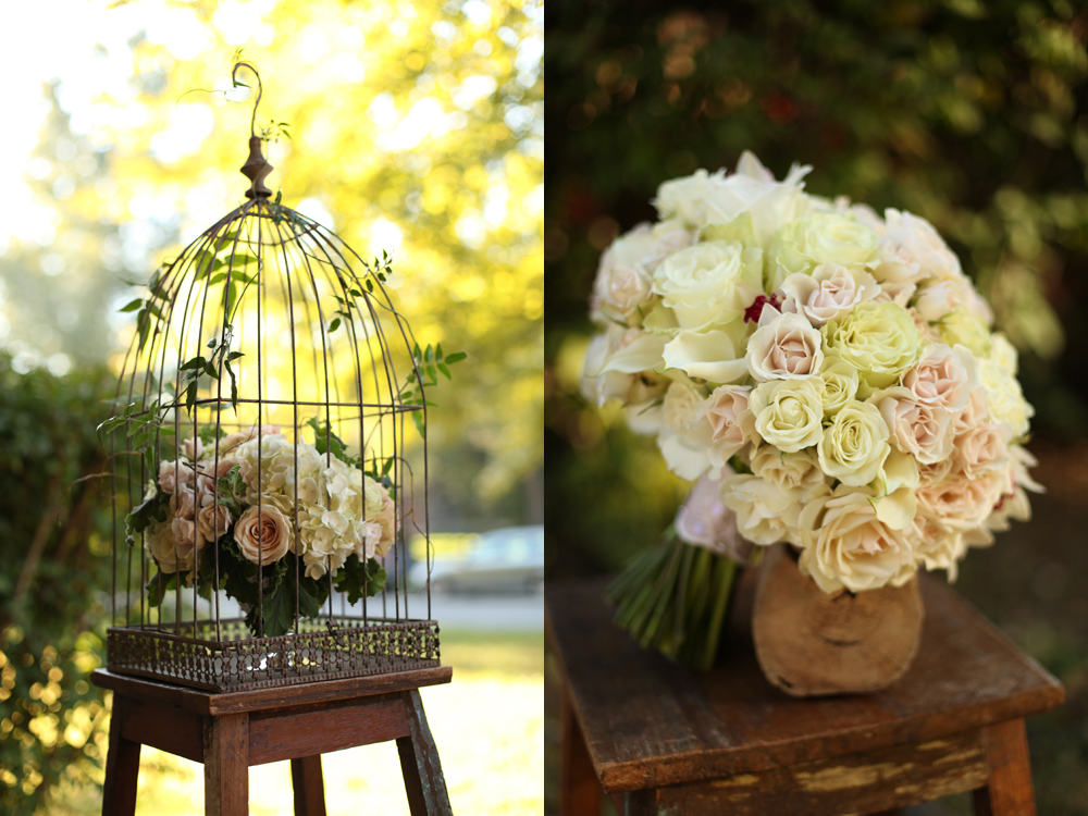 Birdcage centerpiece with curly willow, white hydrangea, Mondial roses, Quicksand roses, Sahara roses, Chablis spray roses, White Majolica spray roses, scented geranium and jasmine vine.Bridal bouquet with white hydrangea, white mini callas, Snow Flake spray roses, white mini cymbidium orchids, Mondial roses, White O'Hara garden roses, Porcelina spray roses and White Majolica spray roses.Flowers by Cincinnati wedding florist Floral Verde LLC.Images by Floral Verde LLC.