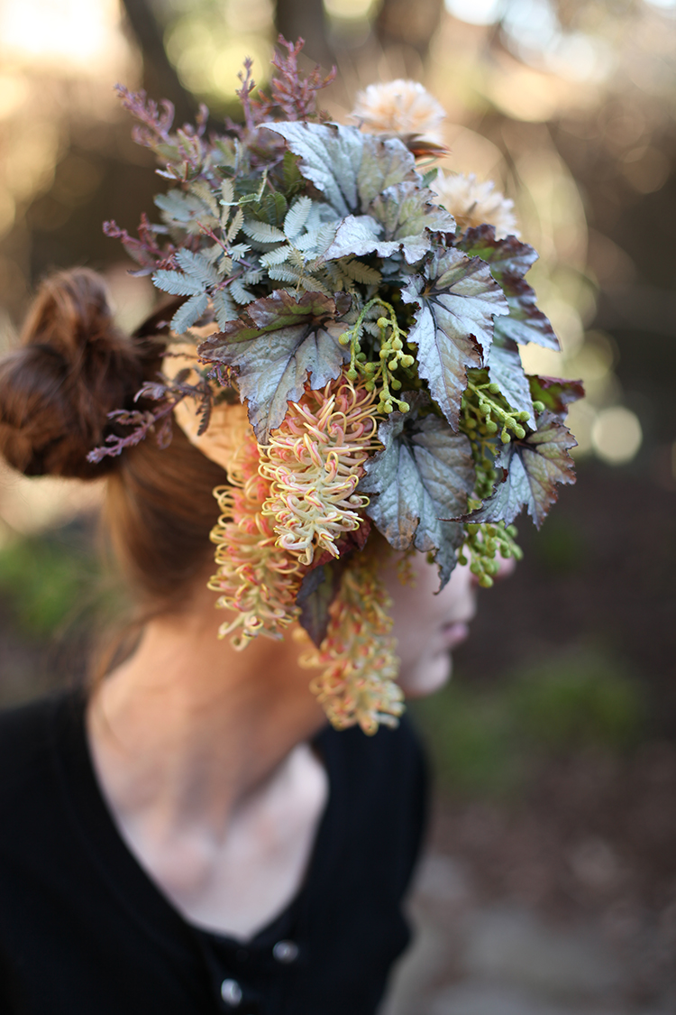 Floral headpiece with birch bark, leucadenron pods, begonia, acacia, Spiderman grevillea and berzillia. By Cincinnati wedding florist Floral Verde LLC.