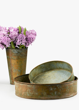 Copper Patina Vase and Tray