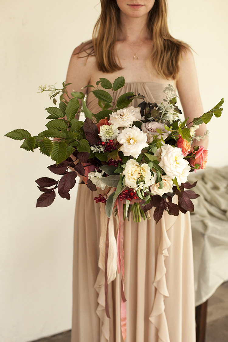 Bouquet with plum branches, Cranberry viburnum, Peach Peony and Romantik Antike garden roses, Quicksand, Metallina and Champagne roses, scabiosa, clematis and Elm. By Cincinnati florist Floral Verde.
