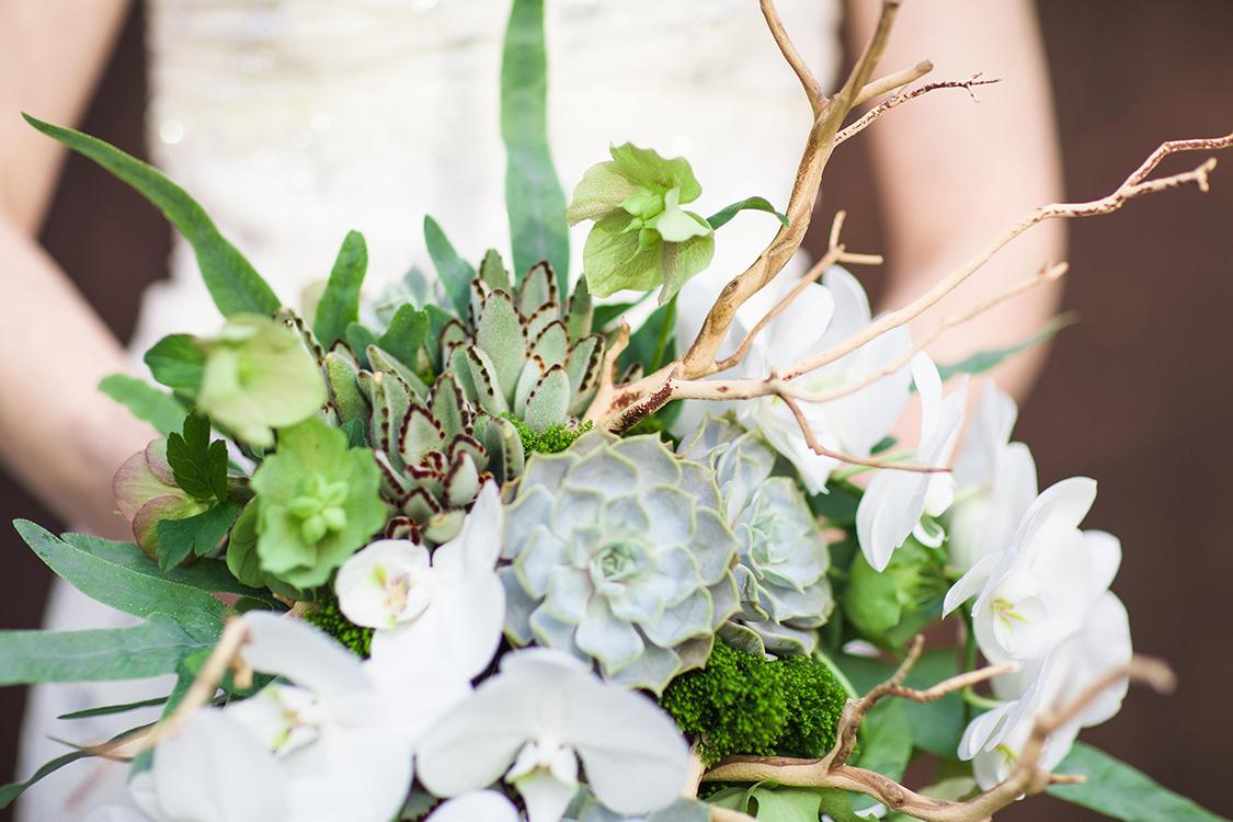 Cascading succulent bouquet with sandblasted manzanita branches, white phalaenopsis orchids, green hellebores, trachelium, ferns, and generous satin ribbon. By Cincinnati wedding florist Floral Verde