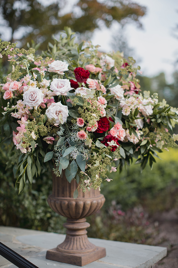 Ceremony arrangements for wedding at Pinecroft Mansion, Cincinnati, Ohio. Flowers by Floral Verde LLC. Photo by Carly Short Photography.