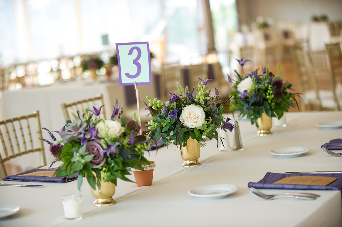 Centerpieces for wedding reception at Pinecroft Mansion, Cincinnati, Ohio. Flowers by Floral Verde LLC. Photo by Mandy Leigh Photography.