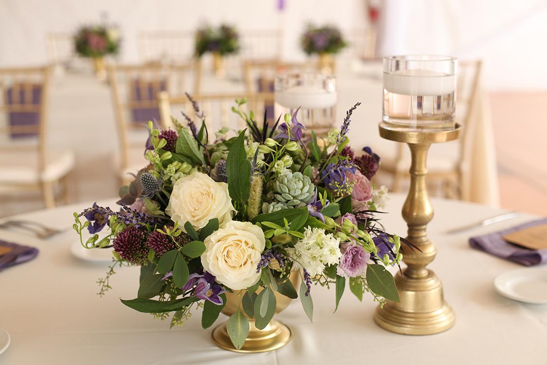 Centerpieces for wedding reception at Pinecroft Mansion, Cincinnati, Ohio. Flowers by Floral Verde LLC.
