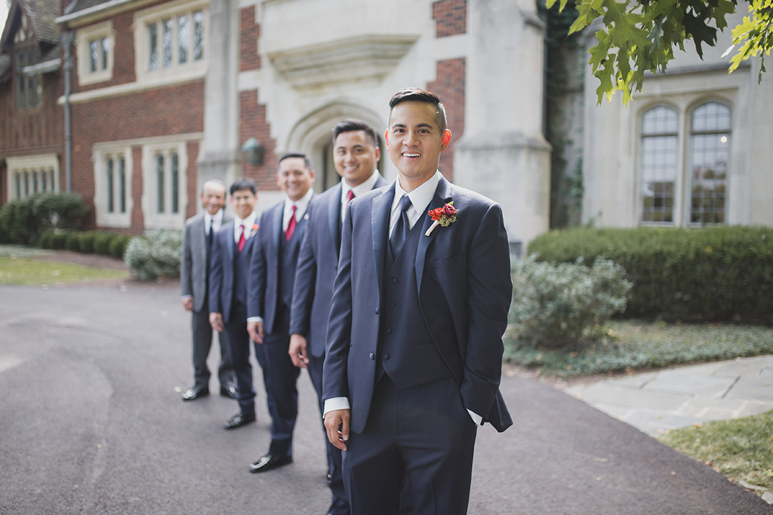 Groom and groomsmen at Pinecroft Mansion, Cincinnati, Ohio. Flowers by Floral Verde LLC. Photo by Carly Short Photography.