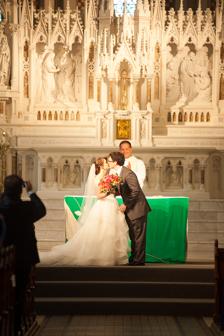 Wedding ceremony at the St Francis de Sales, Cincinnati, Ohio. Flowers by Floral Verde LLC. Photo by Shelby Street Photography.