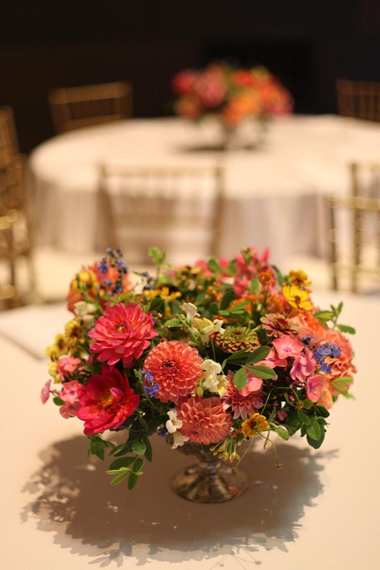 Wedding reception at the Cincinnati Art Museum, Cincinnati, Ohio. Flowers by Floral Verde LLC.