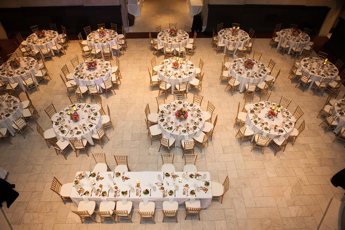 Wedding reception at the Cincinnati Art Museum, Cincinnati, Ohio. Flowers by Floral Verde LLC. Photo by Shelby Street Photography.