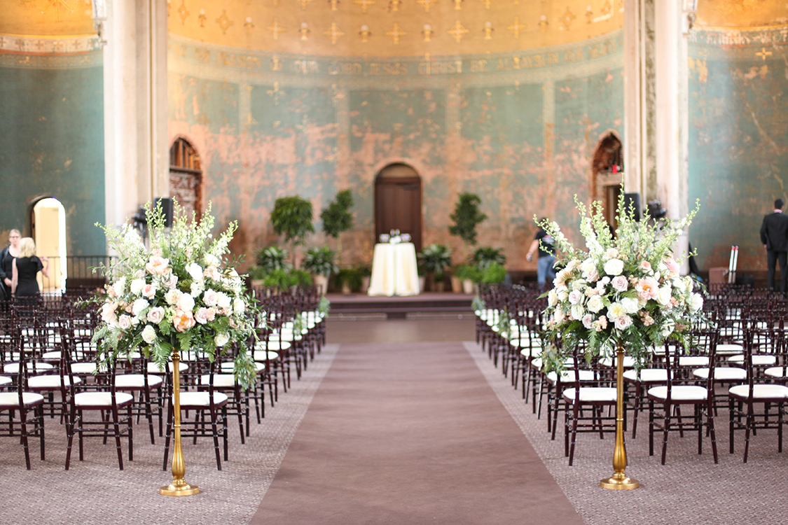 Wedding Ceremony at The Monastery Event Center in Cincinnati, Ohio. Flowers and photo by Floral Verde.