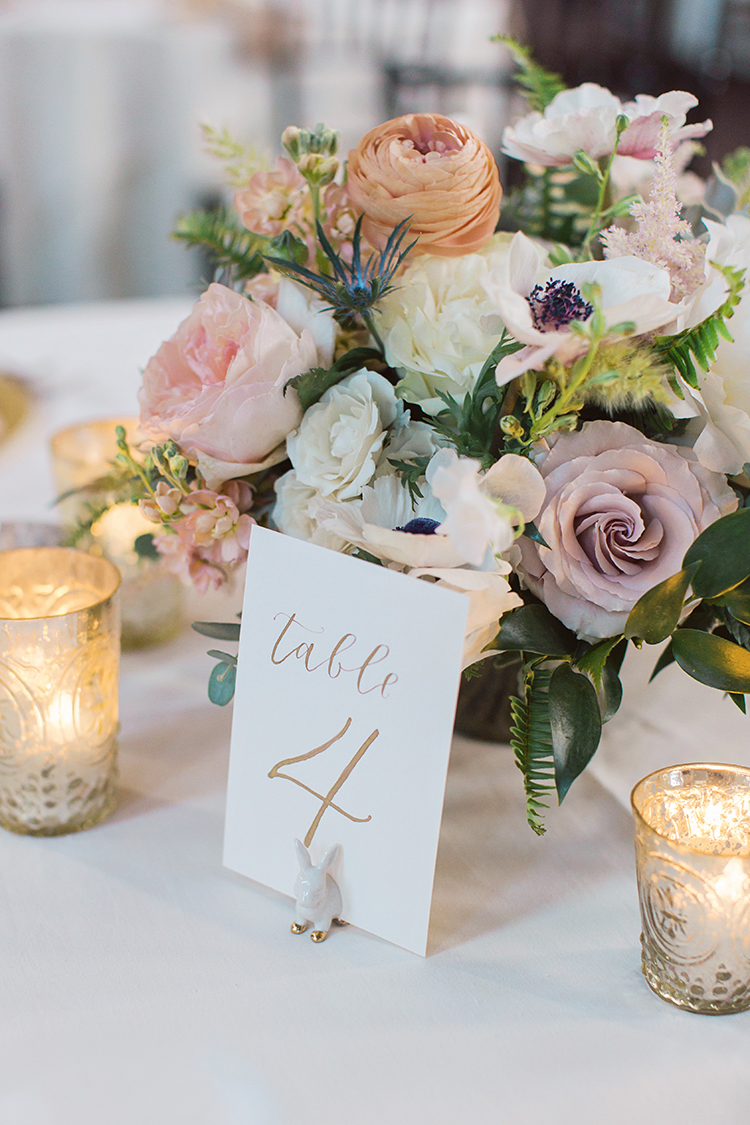 Wedding Reception at at The Monastery Event Center in Cincinnati, Ohio. Flowers by Floral Verde. Photo by Amanda Donaho Photography.