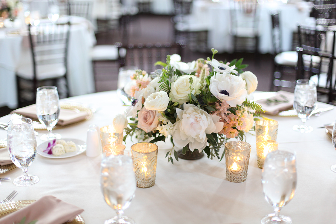 Wedding Reception at at The Monastery Event Center in Cincinnati, Ohio. Flowers and photo by Floral Verde.
