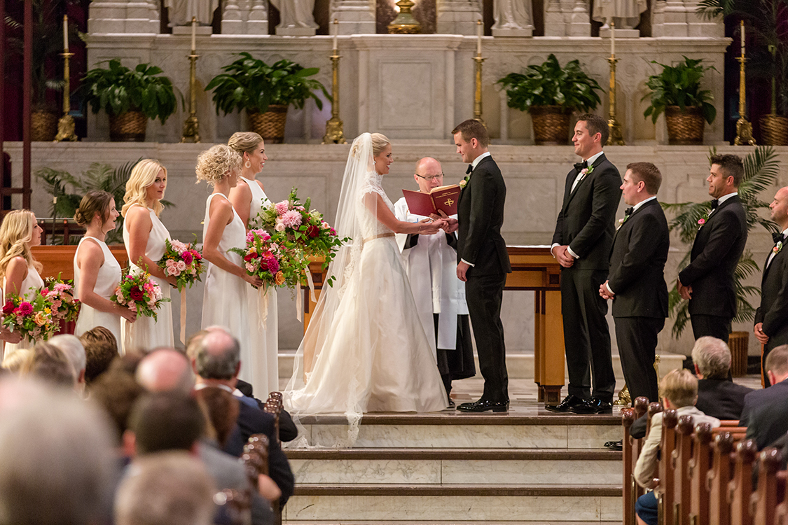 Wedding Ceremony at St. Francis Xavier Church, Cincinnati, Ohio. Flowers by Floral Verde LLC. Photo by 1326 Studios.