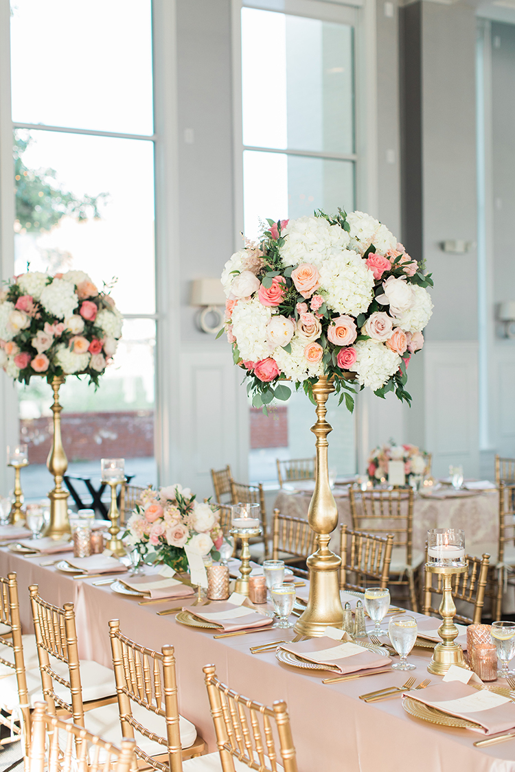 Tall blush and white centerpiece at The Carrick House in Lexington, by Cincinnati wedding florist Floral Verde. Photo by Rachael McCall.