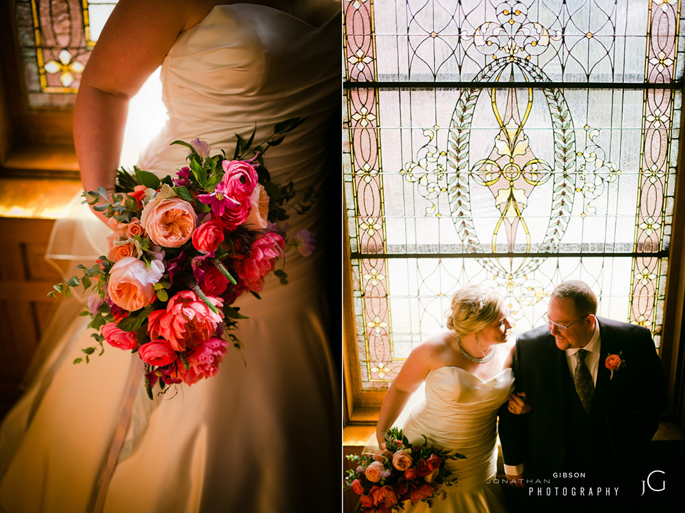 Wedding ceremony and reception at Wiedemann Hill Mansion in Newport, Kentucky. Flowers by Floral Verde. Photo by Jonathan Gibson Photography.