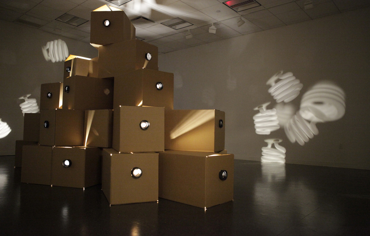 Light , Cardboard boxes, lens, light bulbs, motors, 2013