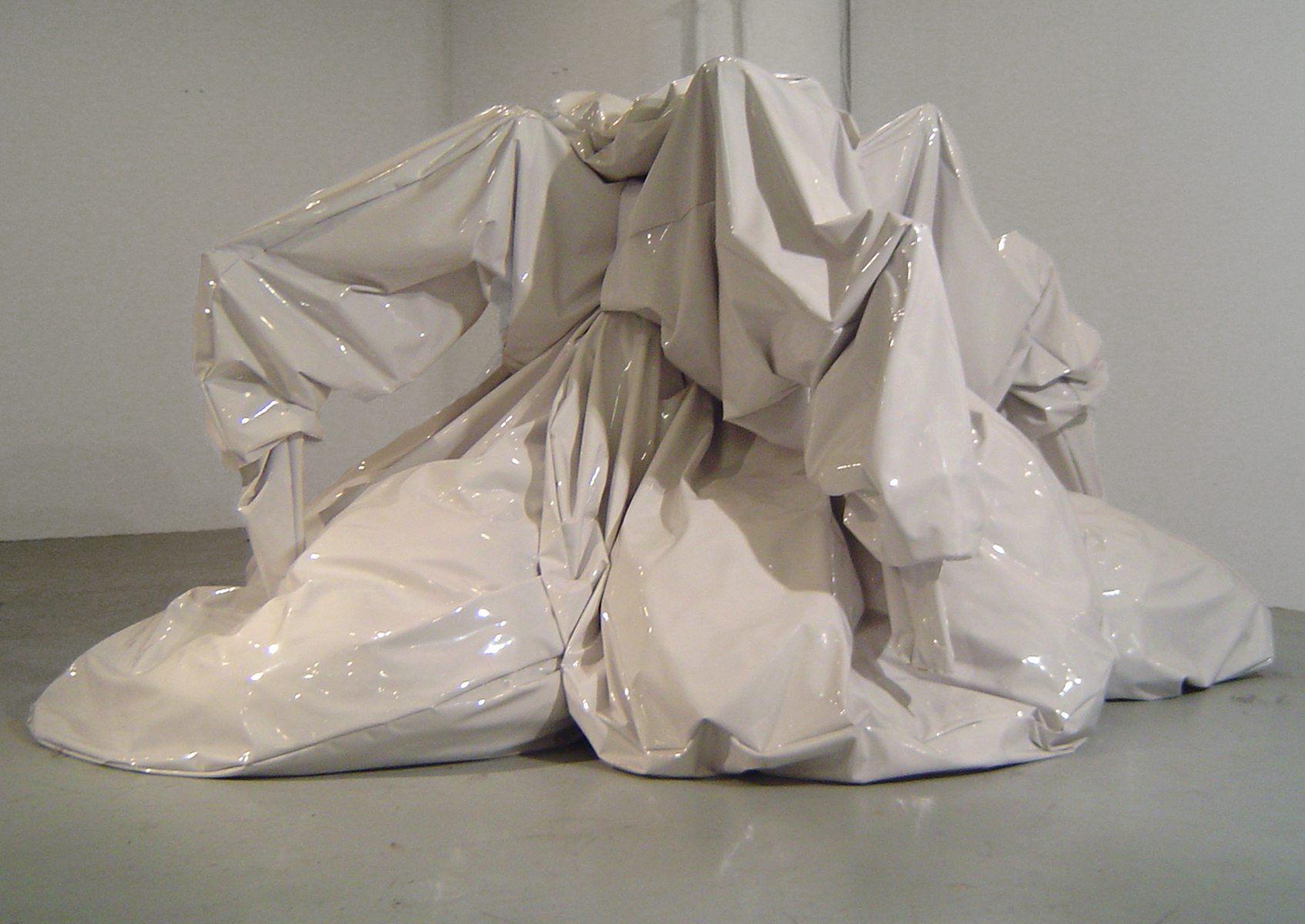 Untitled (white blob) , vinyl, wood, metal, motors, 2005