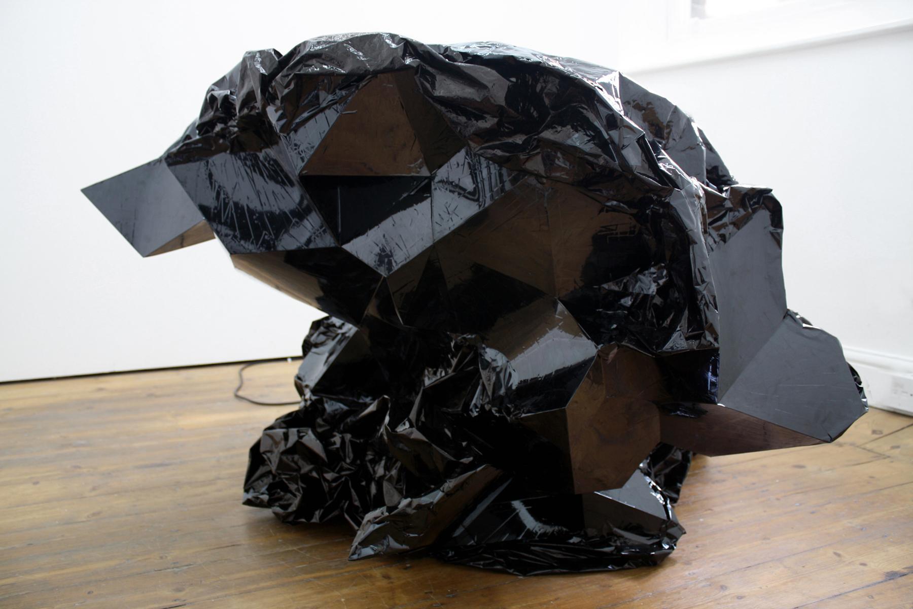 Curdle I , Mylar tape, plastic, aluminum, motor, 2009