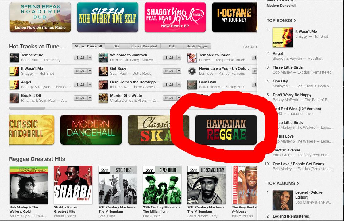 """US iTunes store """"Hawaiian Reggae"""" category"""