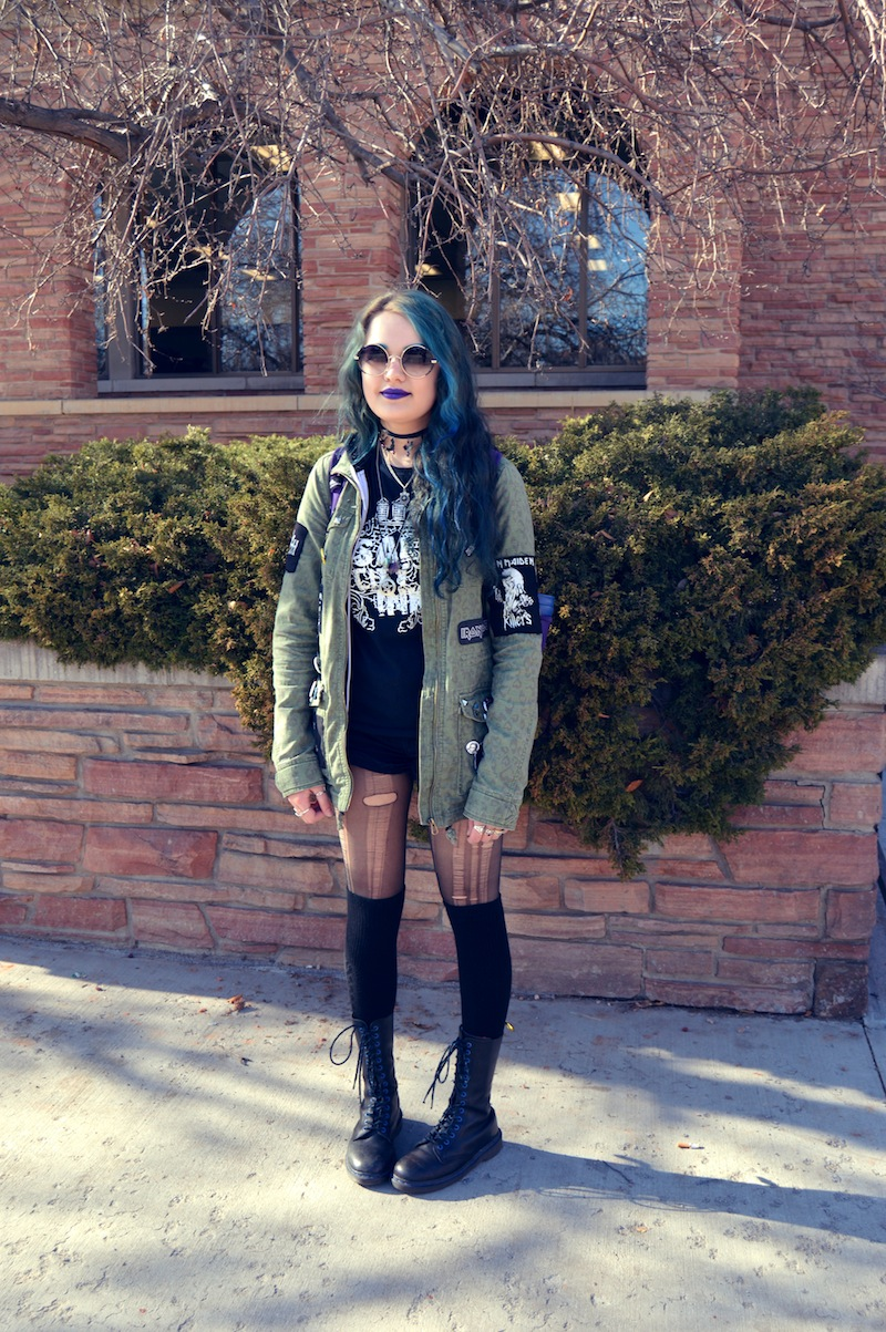 Aly, 19, Arvada. Style Summary: Some days goth, some days punk + metal. Self expression through clothes, and wears what feels good.