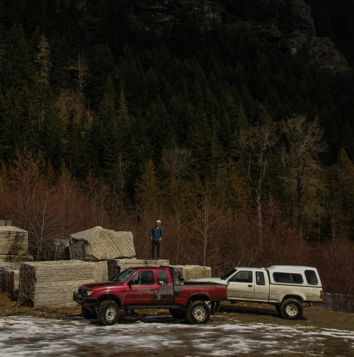 Matt led us to this little quarry where we found these massive slabs of rock lying around waiting to be taken away.