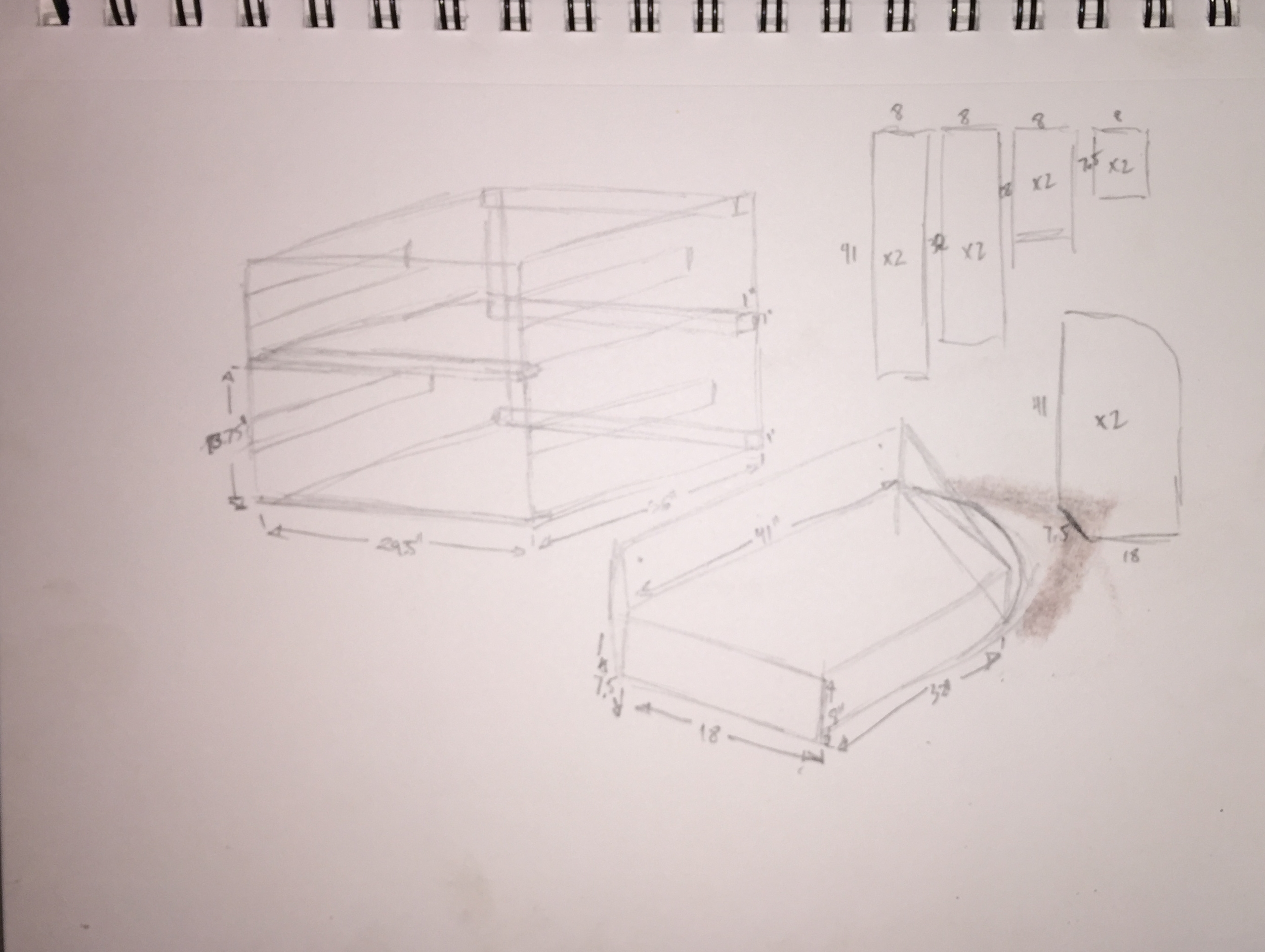 basic plans for the drawer system and under-bed storage