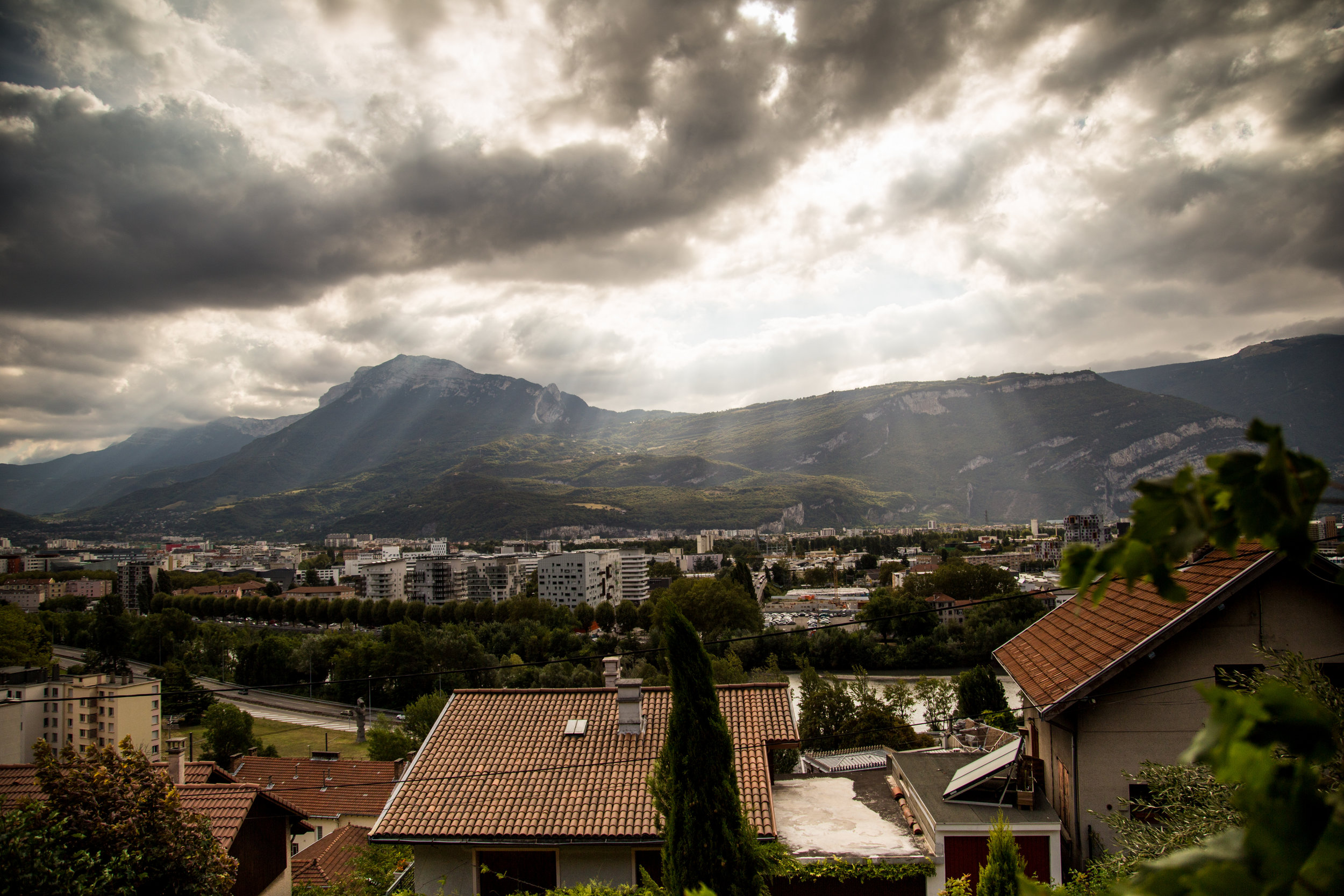 The view from our apartment overlooking Grenoble.