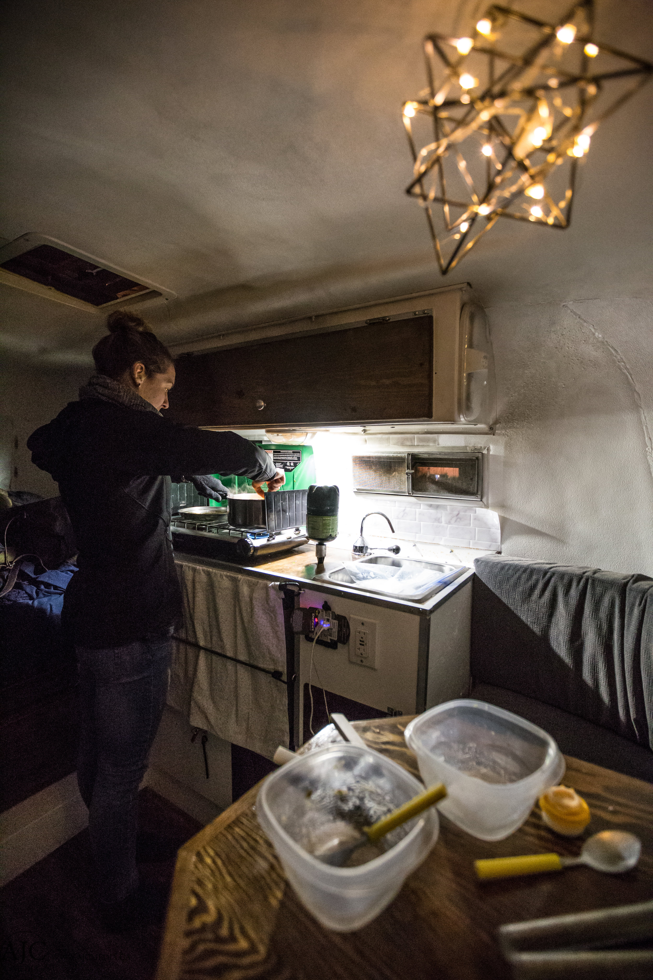 Alison is a pro at cooking in our tiny home.  I'm a pretty lucky guy to have a wife as amazing as her, my travels would be significantly lacking without her.  And yes, we're cooking inside the camper again, we just don't have an open flame near gas like last time.