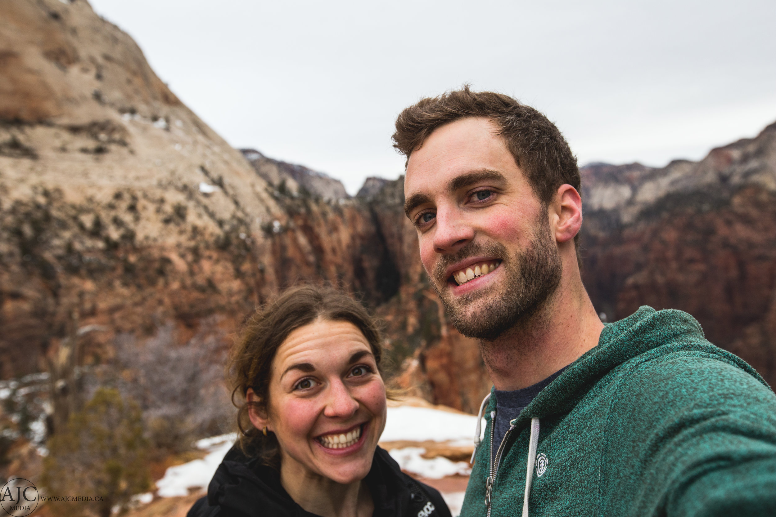The happy hiking couple.