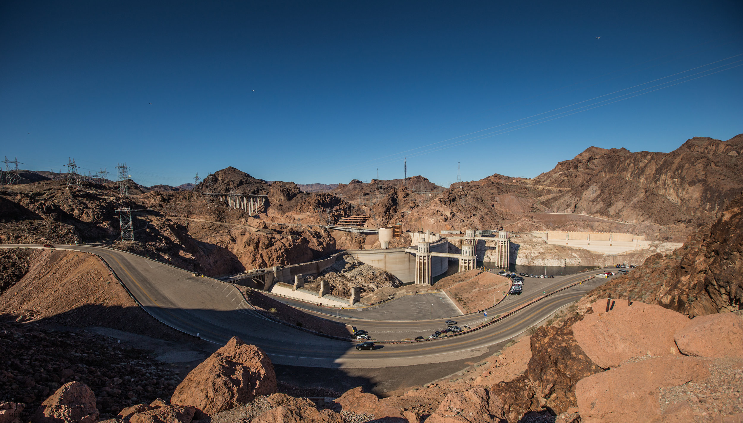 A shot you don't often see of the back side of the Hoover Dam