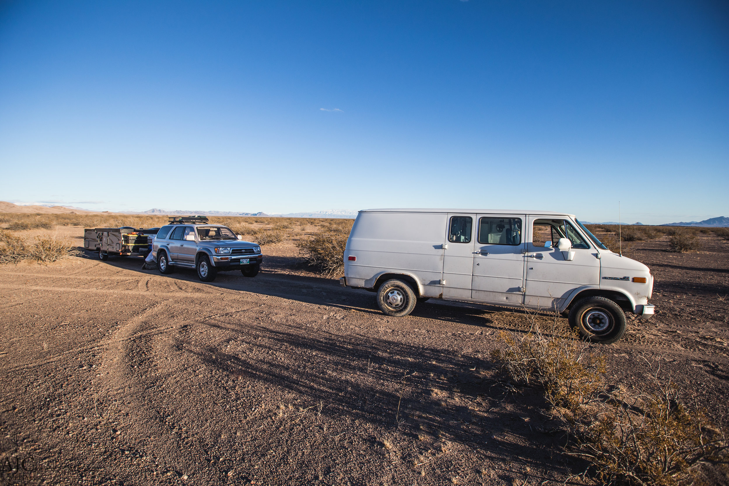 We had to retrieve the trailer separate from the van, then park it behind on solid ground.