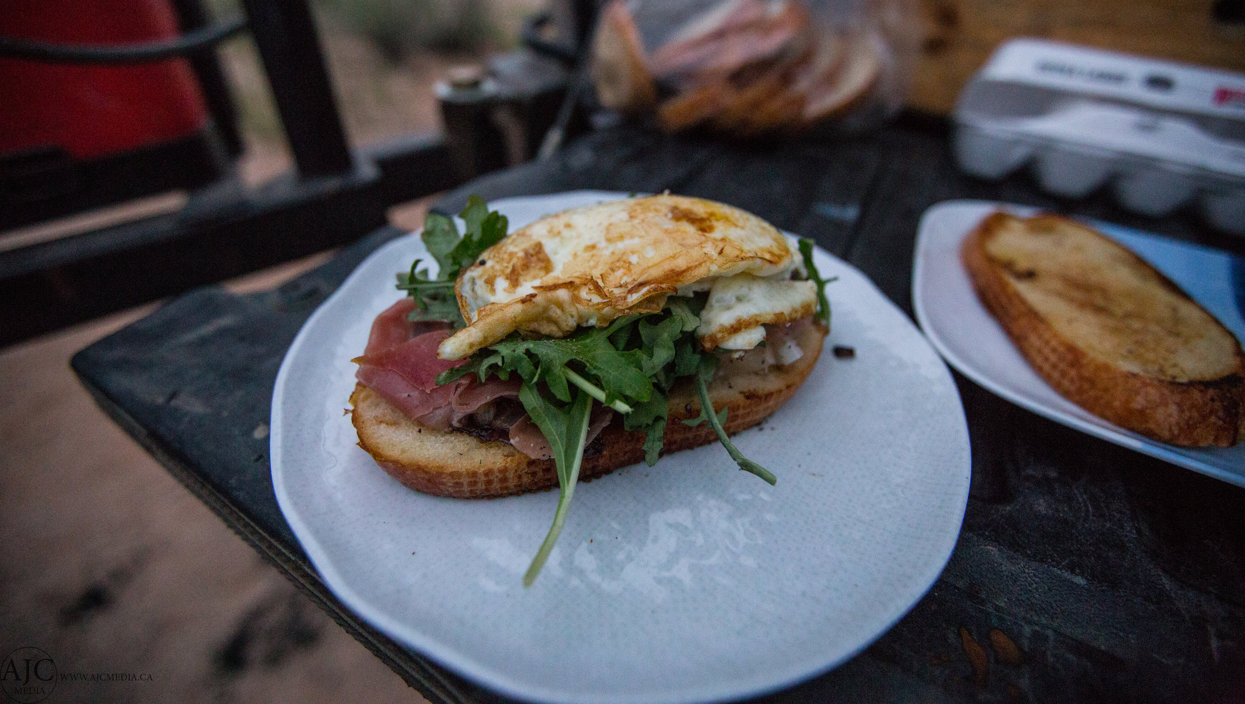 Caramelized Onion Brunch Sandwich with Prosciutto, Brie, Arugula and a cracked Egg (Serves 2)