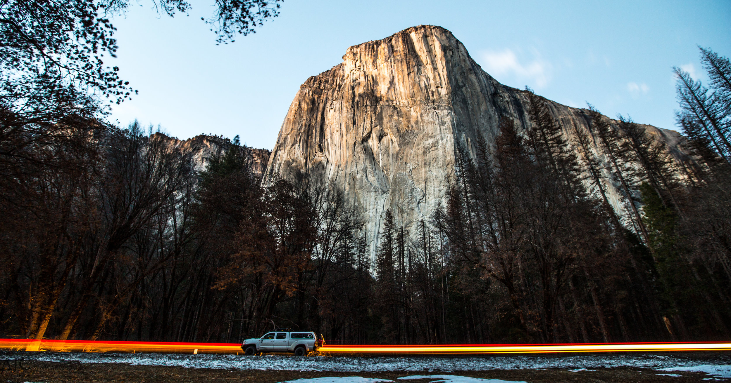Long exposure with moving cars and El Capitan in the back ground make for a somewhat surreal effect.