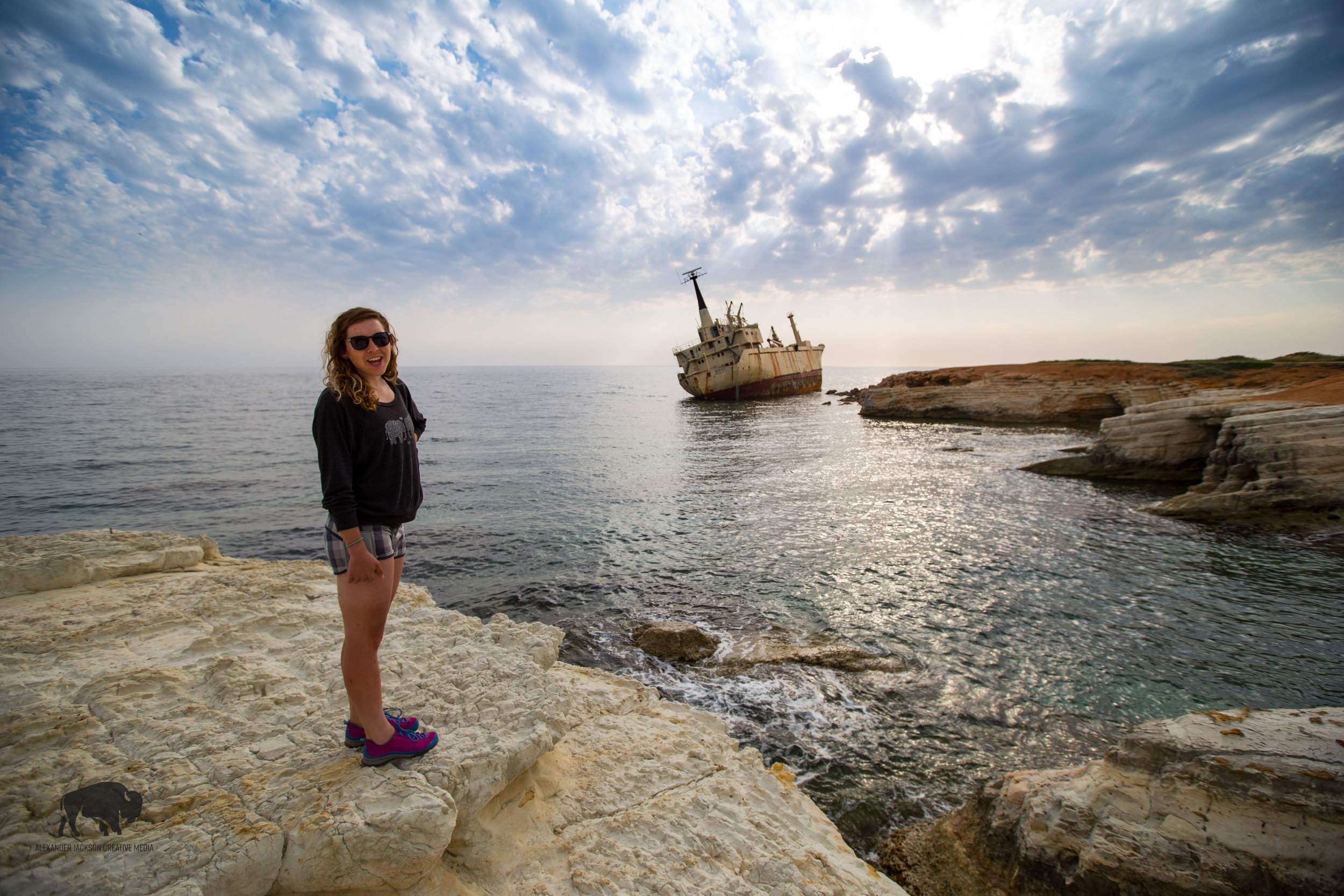 Our first sight of the Edro III shipwreck near Peyia.