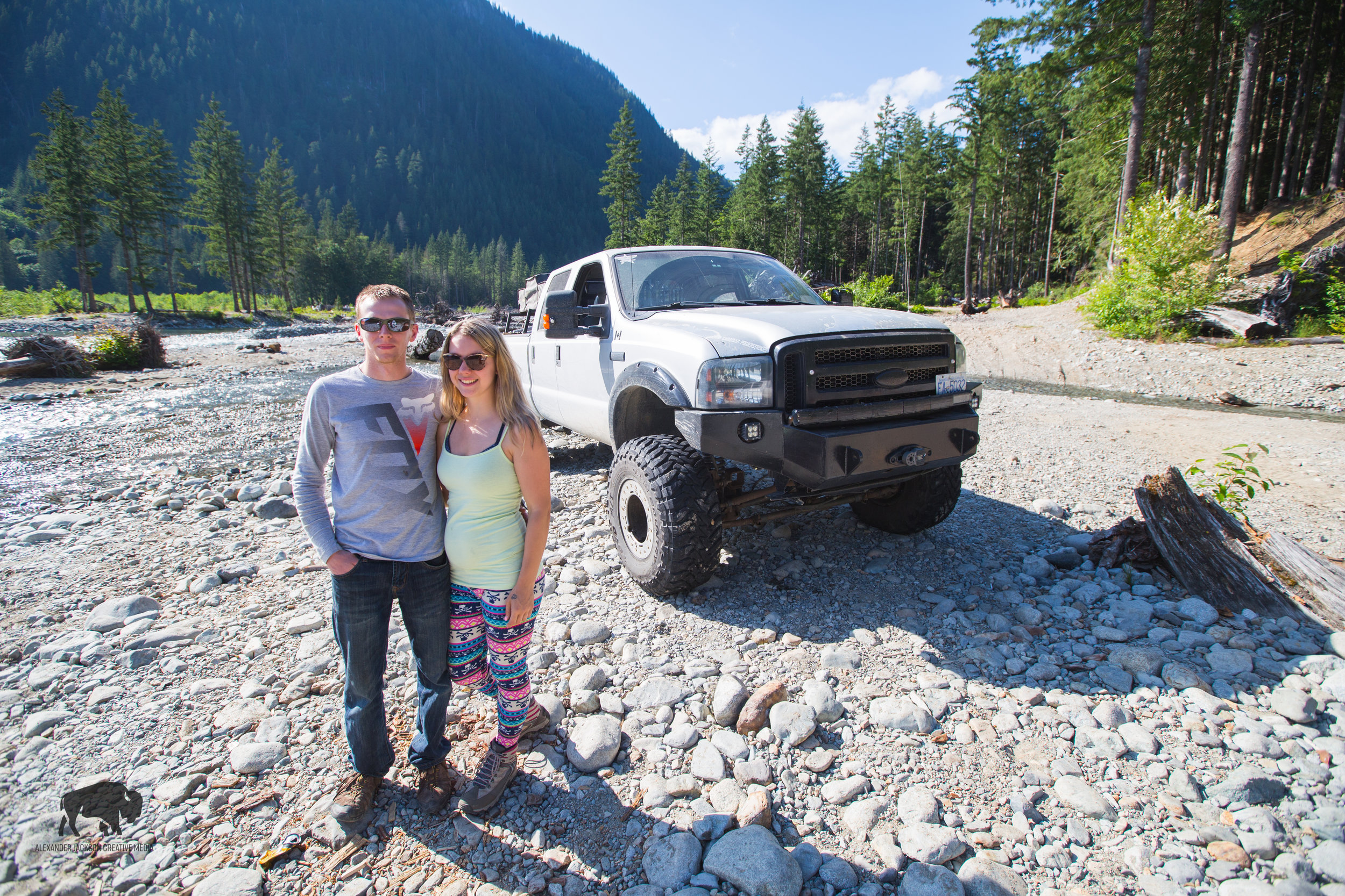 Cass and Brooklyn with their monstrous Ford Super Duty.