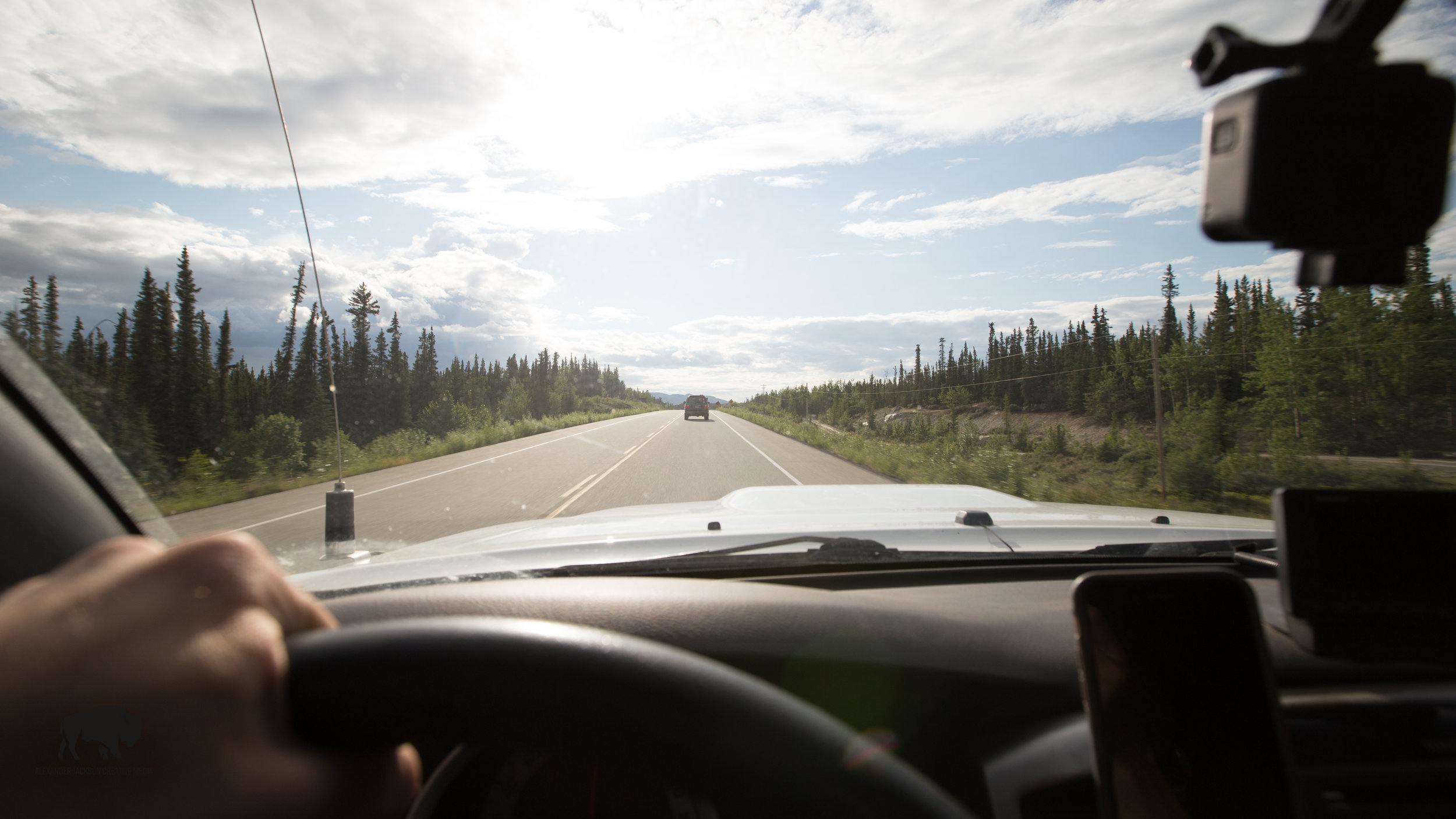 Just before turning onto the old Alaska Highway.