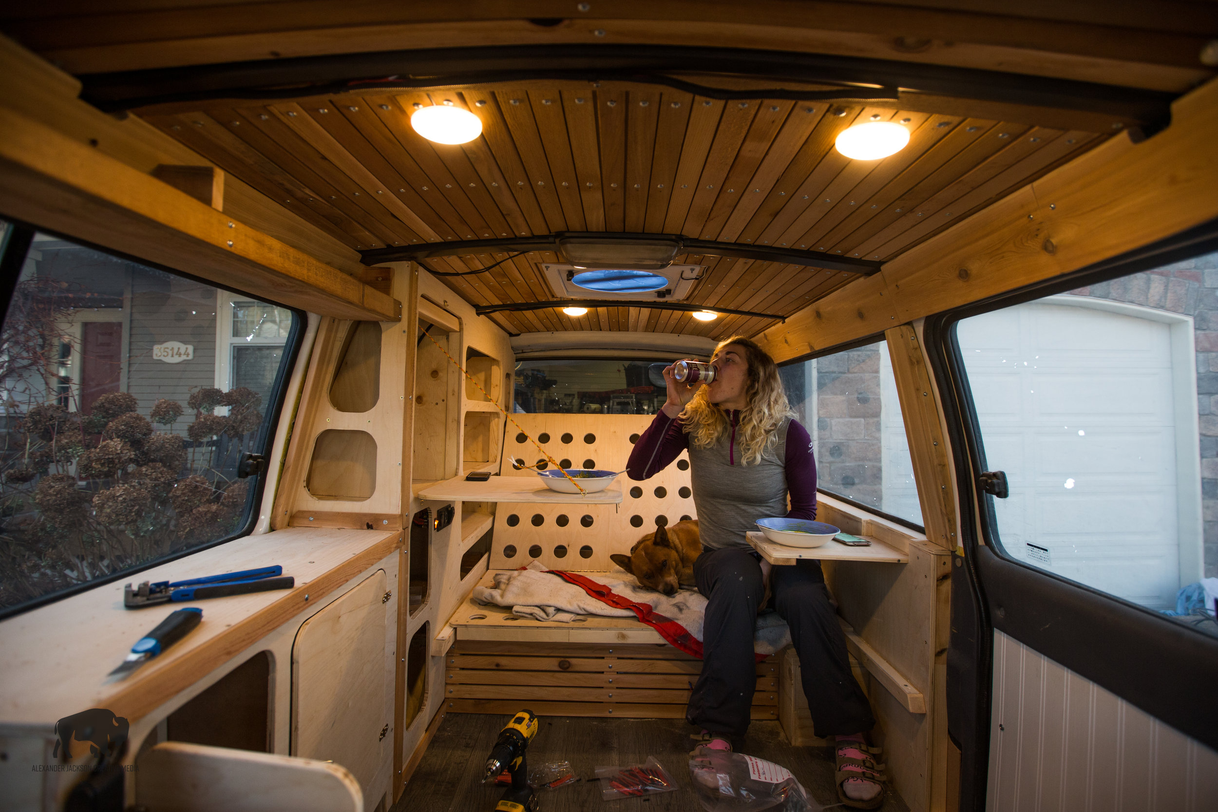 We're now able to enjoy meals inside the van, it's glorious. Also, note the little hide-away desk/ table that Alison's bowl is on. That's something I haven't shown in this blog yet.